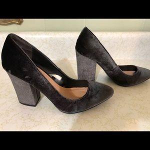 Dark Grey Velvet Heels - Brand New
